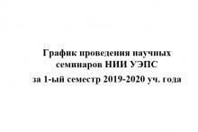 График проведения научных семинаров НИИ УЭПС  за 1-ый семестр 2019-2020 уч. года