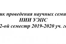 График проведения научных семинаров НИИ УЭПС  за 2-ой семестр 2019-2020 уч. года